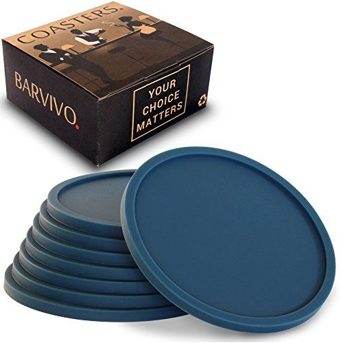 Drink Coasters by Barvivo Set of 8 - Tabletop Protection For Any Table Type, Wood, Granite, Glass, Soapstone, Marble, Stone Tables - Perfect Blue Soft Coaster Fits Any Size of Drinking Glasses.  STOP WORRYING ABOUT SPILLS AND STAINS ON YOUR TABLES OR HOME BAR - Don't let another precious moment slip by because of worries, with these blue silicone coasters you will be able to relax and enjoy all the funny moments with your friends and family knowing all your countertops and furniture bo...