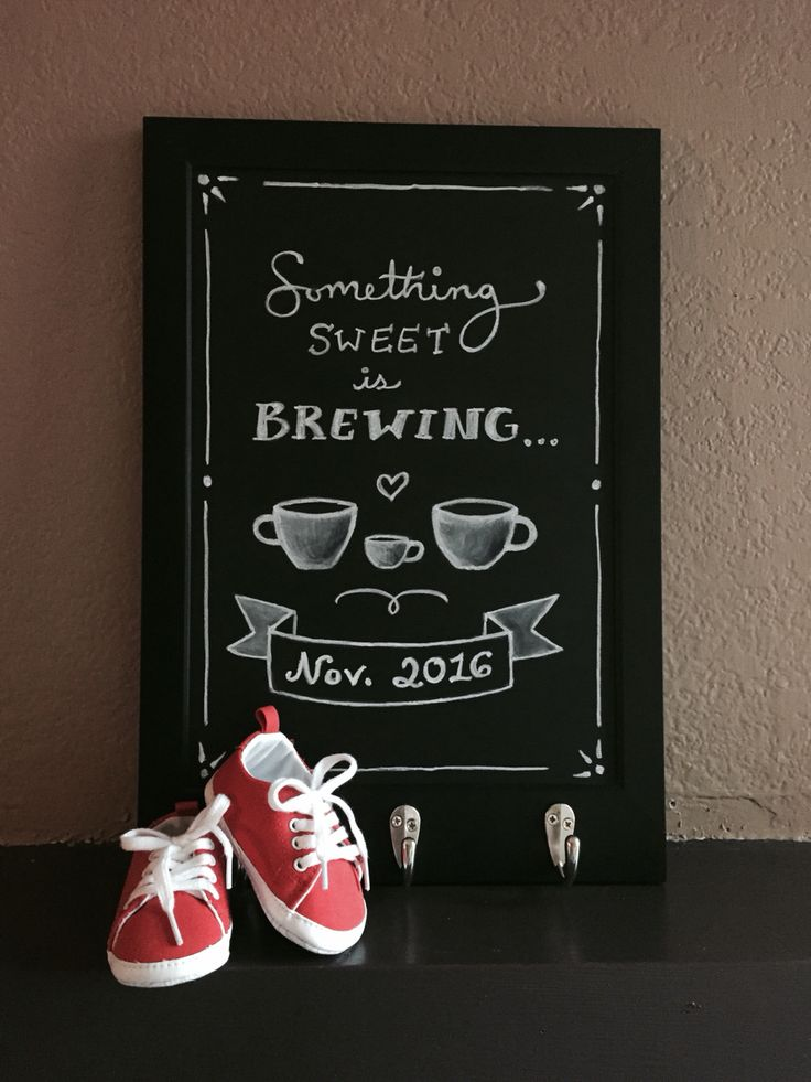 • Chalkboard pregnancy announcement • Hand drawn announcement letting our family & friends know Baby D is joining us November 2016! #chalkboard #pregnancyannouncement #DIY