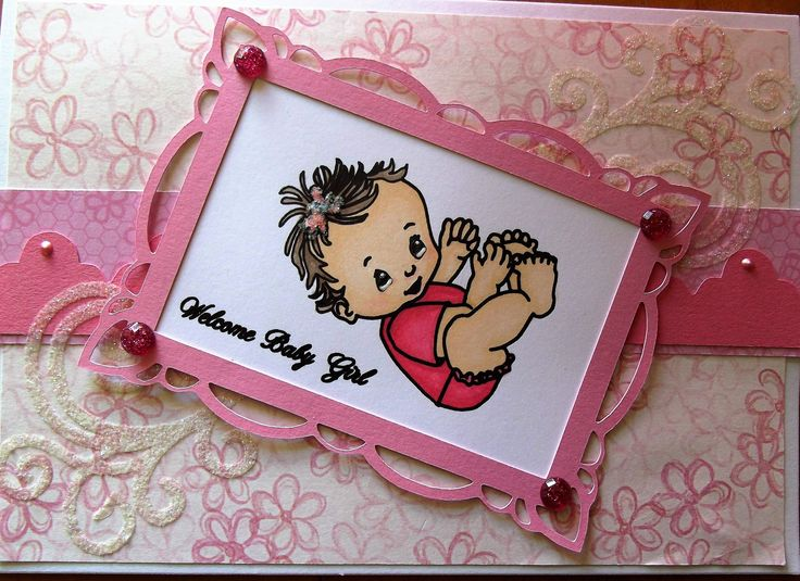 Baby Girl card that I created using my silhouette cameo, sketch pens and ShinHan Touch Twin Markers.