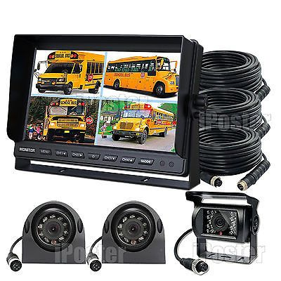 """9"""" QUAD MONITOR WITH DVR BACKUP CAMERAS SAFETY SYSTEM FOR TRUCK TRAILER RV"""