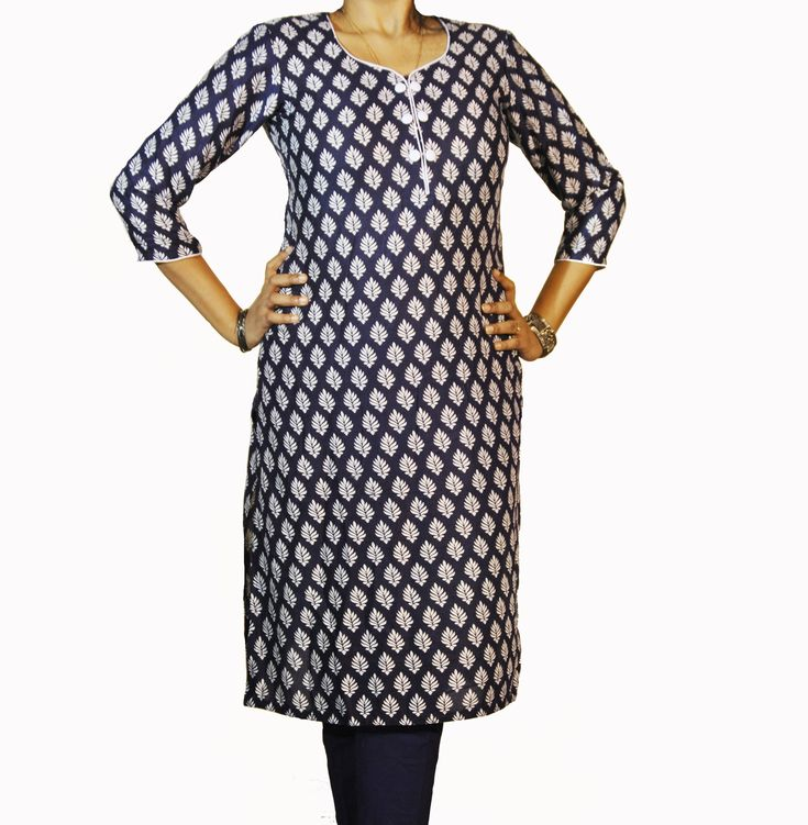 ABHISAR Kurti 001.Main Presenting Cotton Viscose Long Kurta from the house of ABHISAR. This navy blue-white patterned kurta is vibrant, light in weight, wrinkle free and perfect for daily wear. Match it with wide range of ABHISAR bottoms for a complete look.