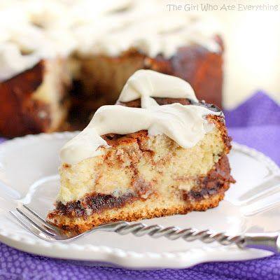 Cinnamon Roll Cheesecake   The Girl Who Ate Everything - It actually has cinnamon rolls baked in the top of it then has cream cheese frosting on top!