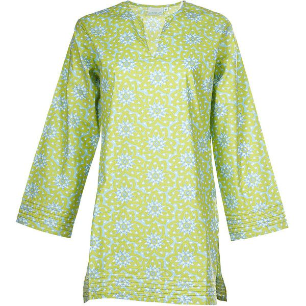 Needham Lane Lime Floral Tunic - M - Green - Shirts ($44) ❤ liked on Polyvore featuring tops, tunics, apparel, green, women's apparel, green v neck shirt, v-neck shirt, lime green shirt, long sleeve shirts and floral shirt