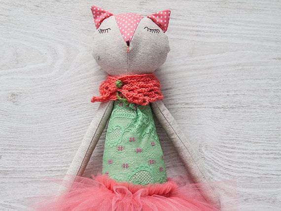 Cat Doll in Pink Coral Tutu Skirt, Large Stuffed Toy,Linen Toy, Handmade Soft Toy, Ballerina Cat Doll, Plush Cat, Nursery Decor