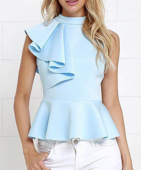 Pastel blue blouse..