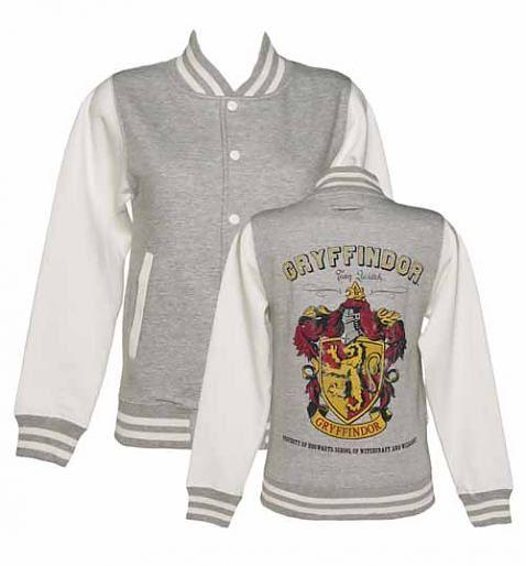 Ladies Grey Harry Potter Gryffindor Team Quidditch Varsity Jacket xoxo
