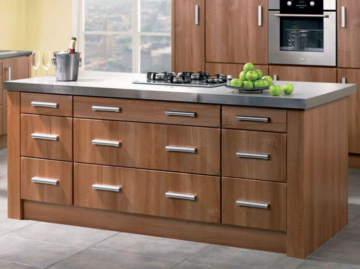 Walnut Kitchen Cabinets In The Island With Modern Knobs