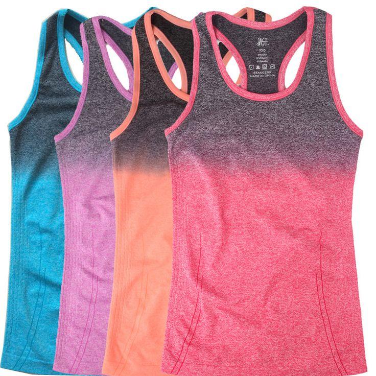 2015 zomer sport vrouwen fitness gym tank top kleurverloop mouwloos shirt sexy mode katoen tops singlet vrouwen vest in  van tank tops op AliExpress.com | Alibaba Groep