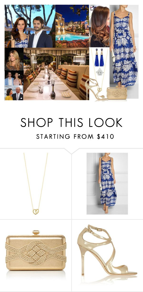 """""""Having Dinner at the Rivea in the Hôtel Byblos with Carl-Philip, Mamma, Pappa, Daniel, Victoria, and Madeleine & Being Told by Vic & Dan that they're Expecting a Baby"""" by louiseingrid-ofdenmark ❤ liked on Polyvore featuring Georg Jensen, Collette By Collette Dinnigan, byblos, Elie Saab and Jimmy Choo"""