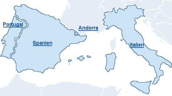 Ferienhaus und Ferienwohnung in Spanien, Italien, Portugal und Andorra. Ferienhaus, appartements und villen. karte
