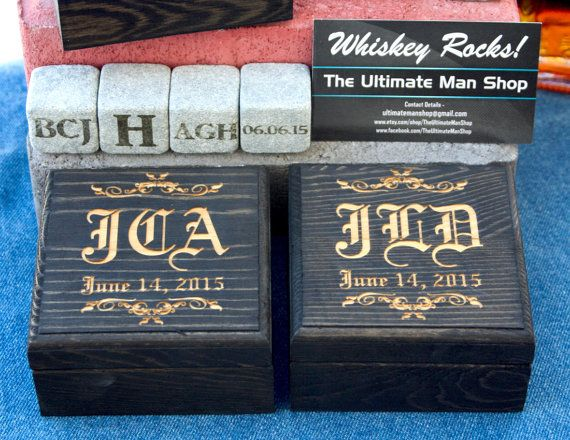 Unique Groomsmen Gift, 4 Engraved Whiskey Stones in Personalized Box, The Perfect present for Whisky Lovers, Great present for Fathers