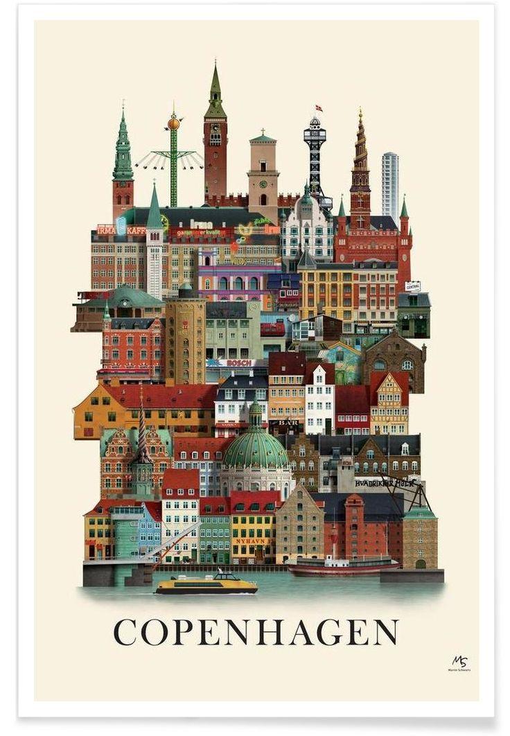 Copenhagen als Premium Poster von Martin Schwartz   JUNIQE