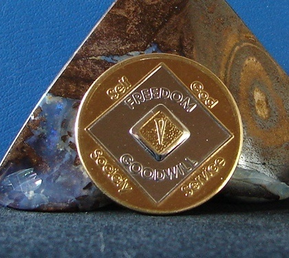 Narcotics Anonymous 24K Gold /Silver Vintage Bi Plate 5 year NA Medallion