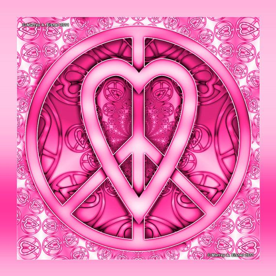 PINK PEACE and Love SIGN  15 x 15  Art Giclee Print   by EisnerArt, $18.00