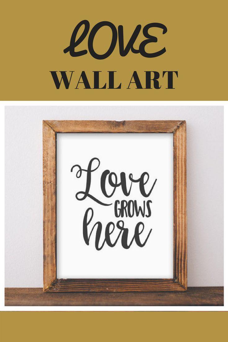 Love Printable Art Love Grows here Love art Valentines poster black and white decor home art apartment printable wedding home love art #Affiliate