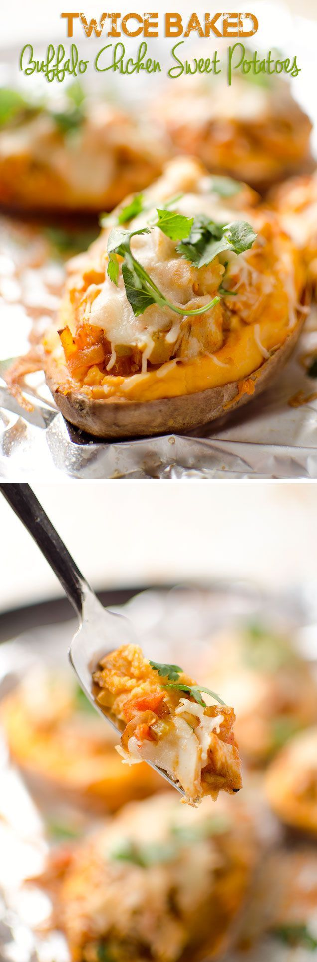 Twice Baked Buffalo Chicken Sweet Potatoes - An easy and delicious dinner recipe…