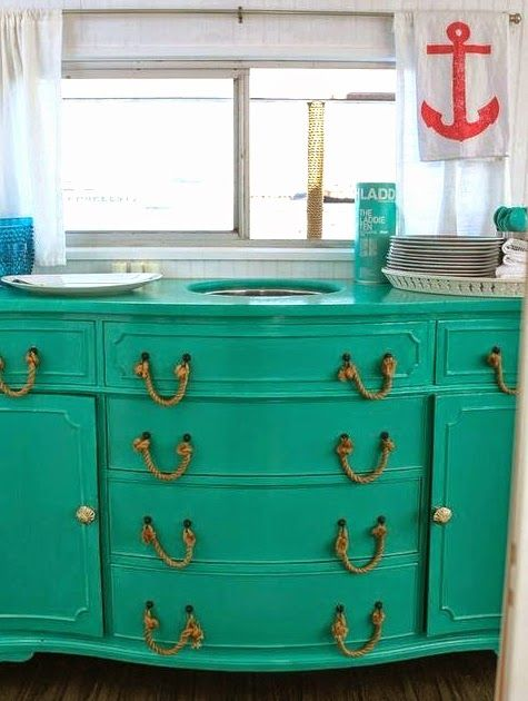 Completely Coastal: Top Coastal & Nautical Furniture Makeovers -From Wicker Chairs to Side Tables to Dressers