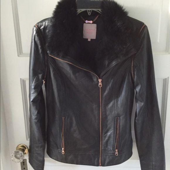 Ted Baker leather jacket/ vest with fur No longer sold. Turns into a vest or jacket. Worn three times. Ted Baker Jackets & Coats