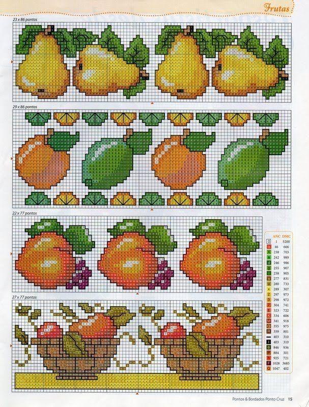 Gráficos Ponto Cruz e Artesanato: Barrados Frutas