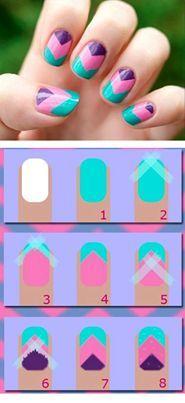 DIY Zig zag nails - make at home