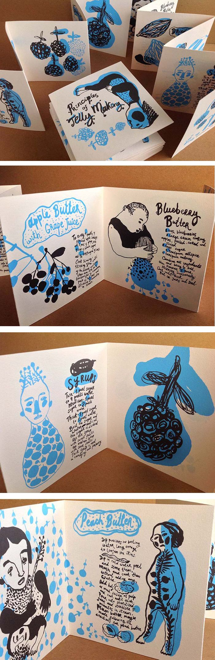Ilustración y edicion de fanzines. Natalya Balnova / Silk screened book design - Principles of Jelly Making. http://www.designworklife.com/2014/04/17/alliteration-inspiration-jelly-journeying/
