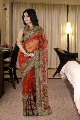 This Red Net Saree Is Showing Some Amazing Embroidery Done Silk Sarees on Shimply.com