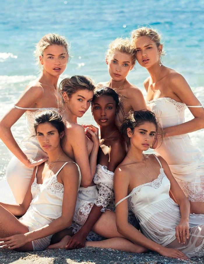 Victoria's Secret Angels Elsa Hosk, Jasmine Tookes, Taylor Hill, Martha Hunt, Stella Maxwell, Sara Sampaio, & Romee Strijd are styled as ethereal, sensual 'Celestial Creatures' by Elizabeth Sulcer. Photographer David Bellemere captures the beauty queens for Vogue Spain May 2016./ Hair by Diego da Silva; makeup by Fulvia Farolfi