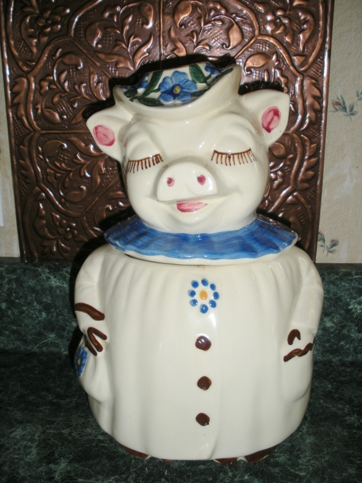 "Vintage Shawnee Smiley "" Winnie the Pig""  Blue Flowers on sale now at Ebay   Item # (180852564127)   Seller ID  Sunflowercollectables"