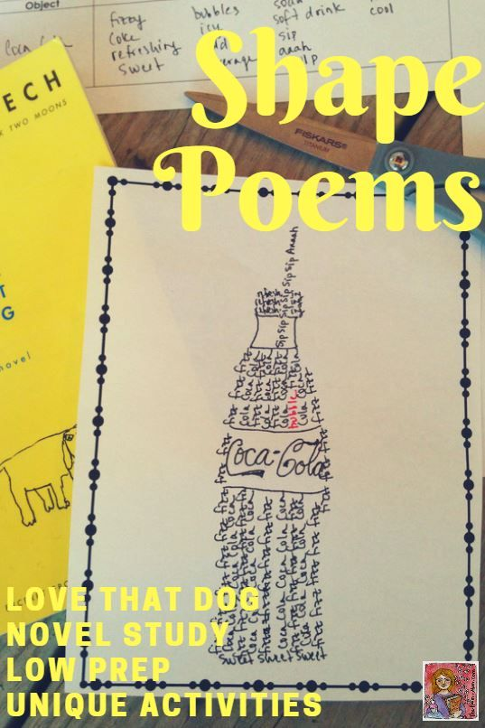 Love That Dog by Sharon Creech low prep novel unit, poetry writing activities like shape poems and reading comprehension choices, great for upper elementary