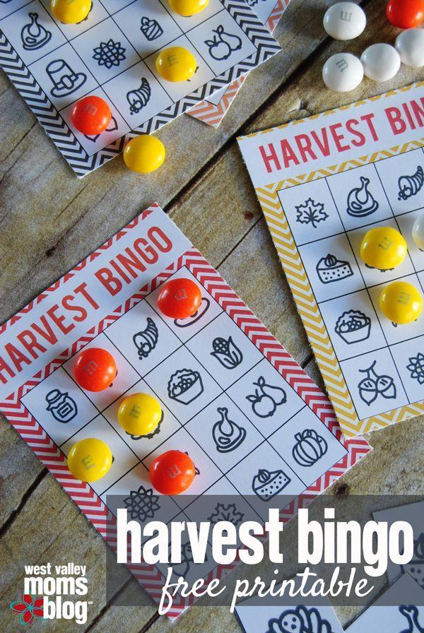 harvest bingo family activity free printable west valley moms blog thanksgiving theme. Black Bedroom Furniture Sets. Home Design Ideas