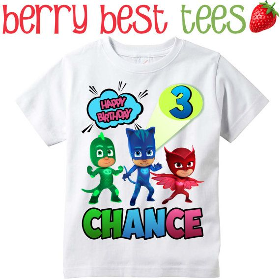 PJ Masks Personalized Birthday Shirt By BerryBestTees On Etsy