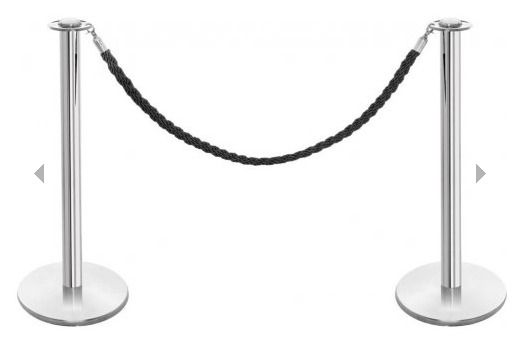 Polished Stainless Steel Barrier Posts & Black Twisted Rope Set