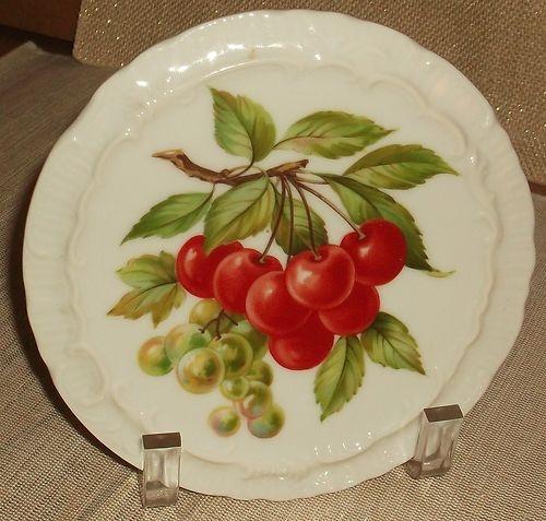 Vintage Ceramic/ Porcelain Trivet with Cherries & Grapes on ebay.