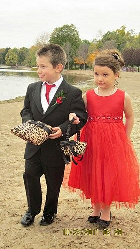 leopard ring bearer pillow and flower girl basket