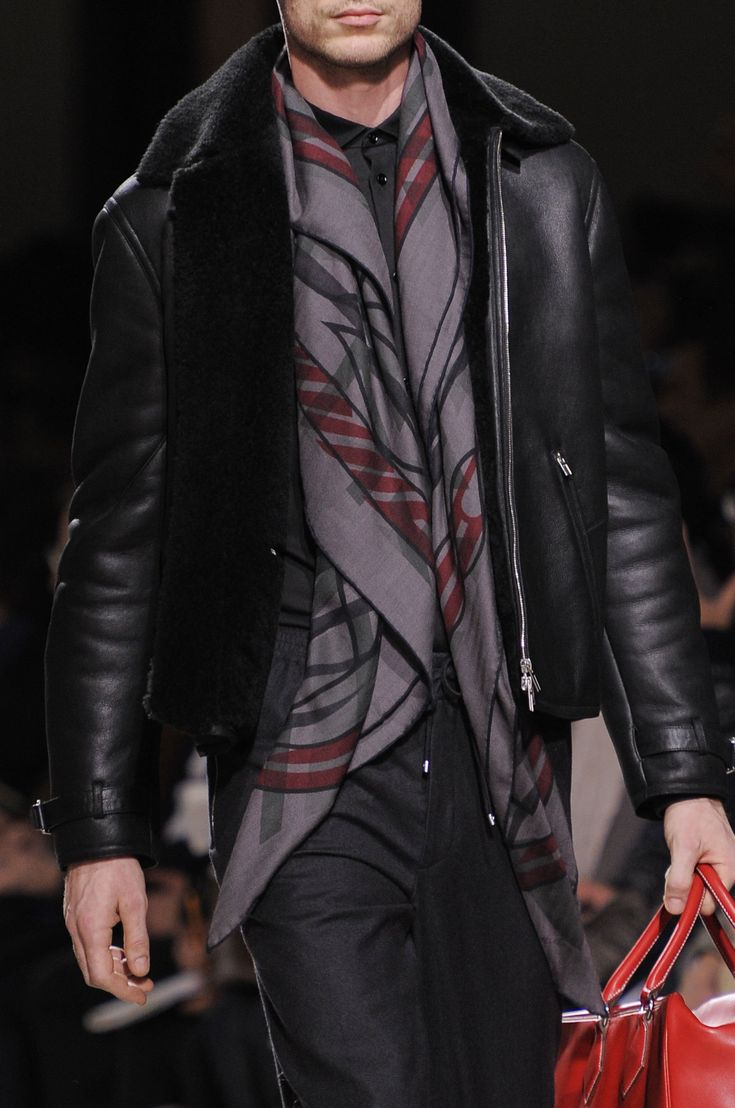 Black Shearling Moto Jacket, and Cashmere Print Scarf, by Hermes. Men's Fall Winter Fashion.