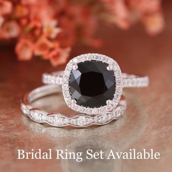 Black Spinel Halo Diamond Engagement Ring in 14k White Gold