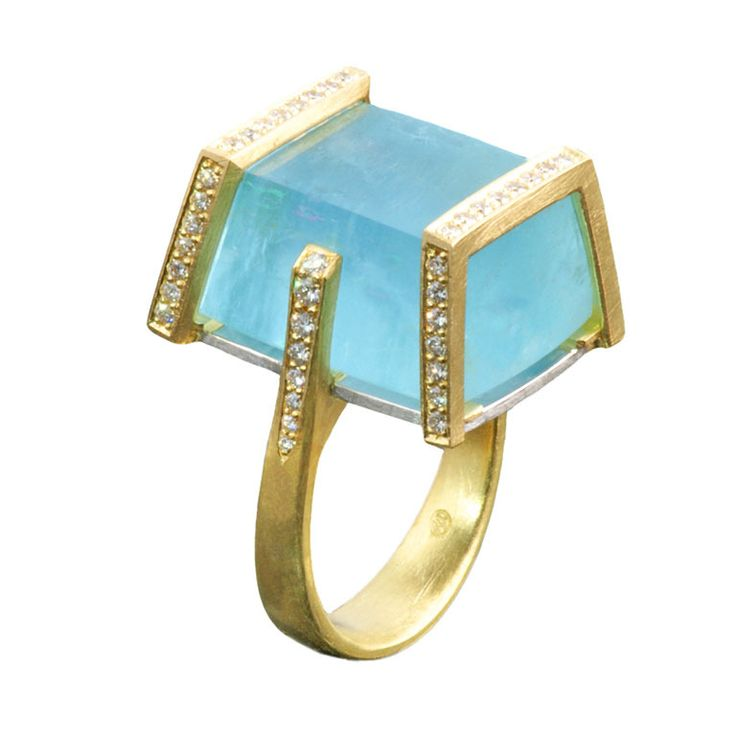 Stunning Aquamarine and Diamond Bar Ring   From a unique collection of vintage cocktail rings at http://www.1stdibs.com/jewelry/rings/cocktail-rings/