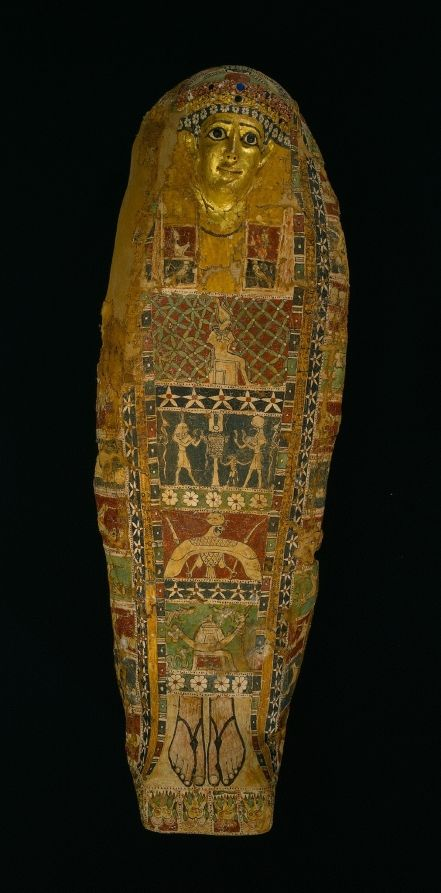 Cartonnage Mummy Case, c. 50 BC - AD 50 Egypt, Late Ptolemaic Dynasty to early Roman Empire cartonnage, painted and gilded, with glass inlays, Overall - h:20.50 w:57.00 l:166.50 cm (h:8 1/16 w:22 7/16 l:65 1/2 inches). Cleveland Museum of Art