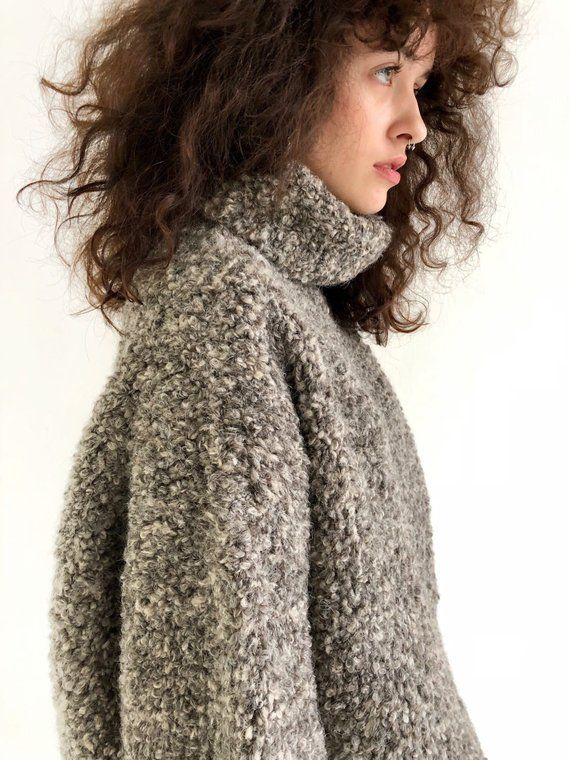 057c03f91 Gray oversized turtleneck sweater of boucle wool