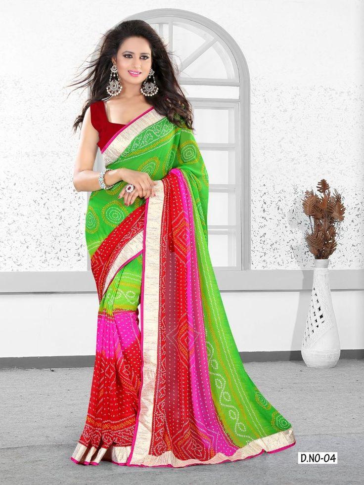 pink and green bandhani saree - Google Search