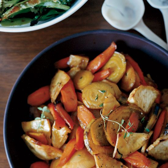 Honey-Glazed Roasted Root Vegetables   The secret to this sweet, slightly tangy dish: the touch of sherry vinegar in the glaze.