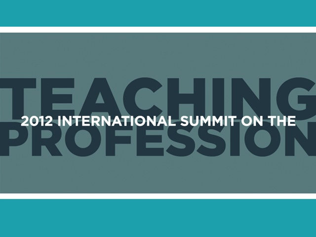 """2012 International Summit on the Teaching Profession - has report from the summit posted. It's a lengthy report, however the chapter on """"Preparing Teachers to Deliver Twenty-First Century Skills"""" is great - talks about how we are still in 19th century environments/way of teaching and ideas for reform."""