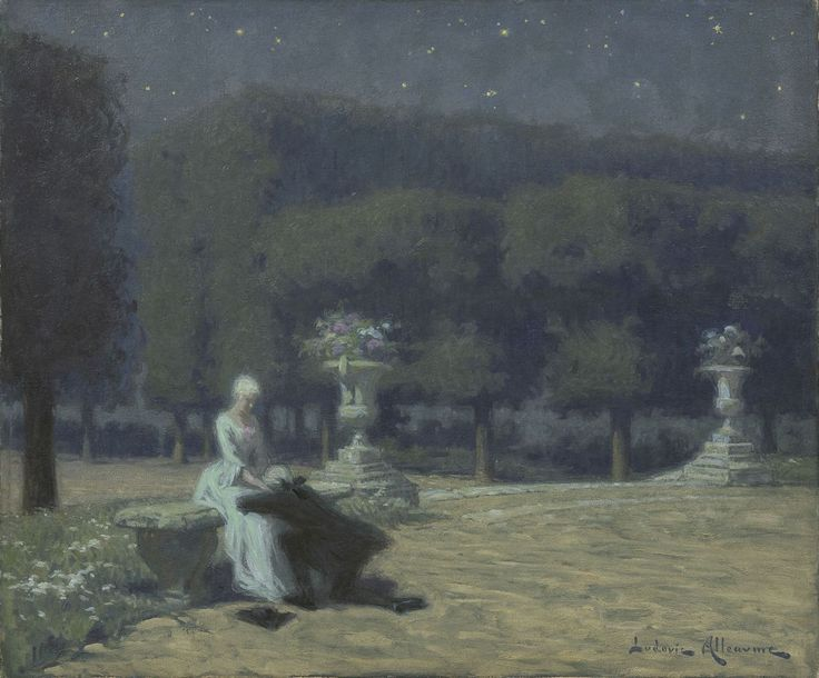 Ludovic Alleaume (1859-1941)Paradis Nocturne - Declaration, oil on canvas 46.0 x 55.1 cm., signed l.r. and on remains of a label on the stretcher. Collection Simonis & Buunk, The Netherlands.