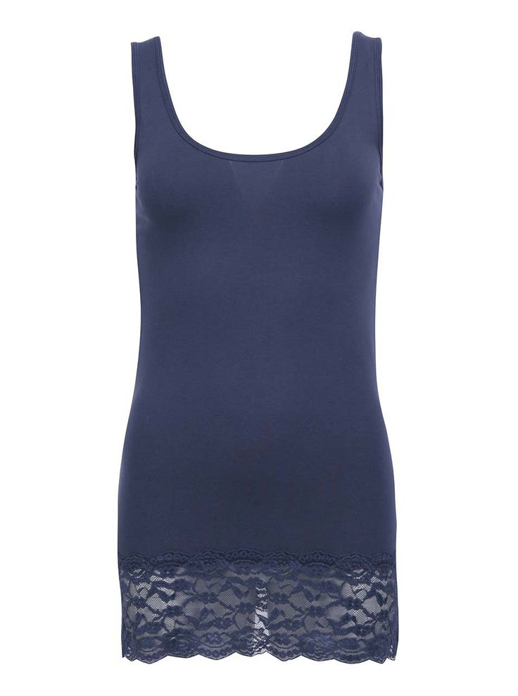 Maiou bleumarin cu dantelă Long Lace de la ONLY - Only