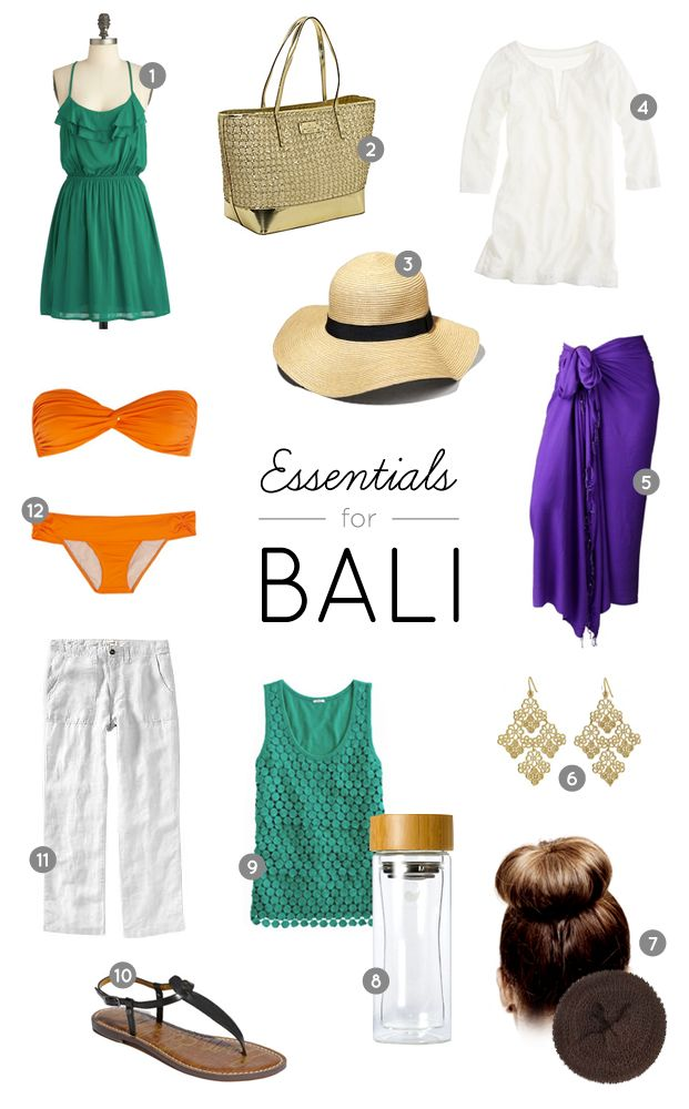 Packing list essentials for Bali, Indonesia.