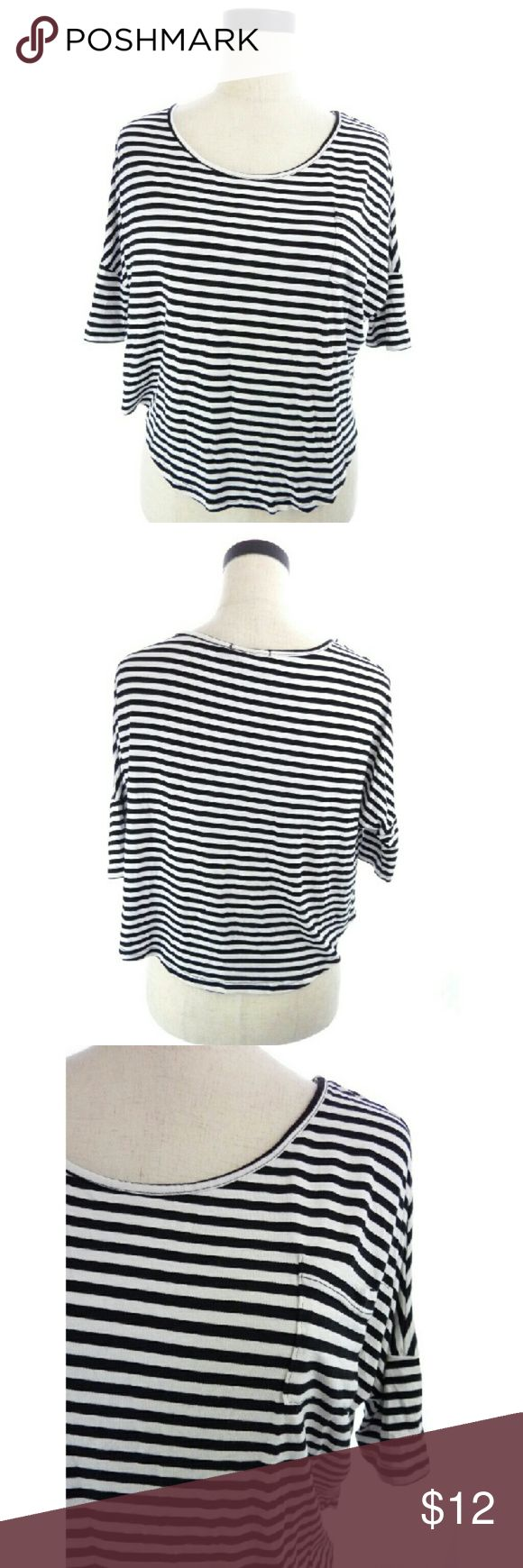 "Black and White Striped crop top Black and white crop top with single breast pocket. Batwing like short sleeves. Armpit to armpit is 16"" across when flat. Shoulder to hem is 18"".  wt1752 Love Culture Tops Tees - Short Sleeve"