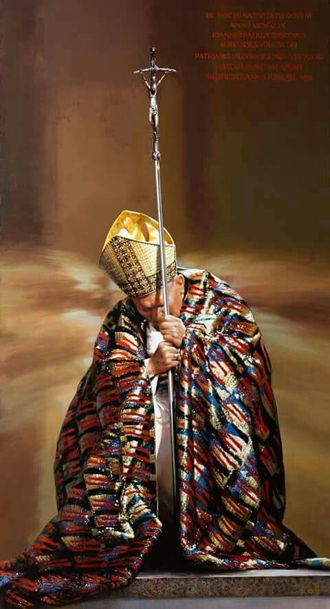 In his infirmity, he still knelt in benediction to the Lord