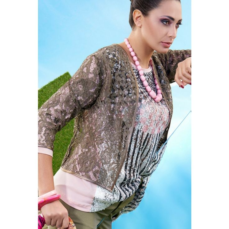 Giacca corta in pizzo verde militare taglie comode  Manica 3/4    Trasparente    Made in Italy  https://www.lorcastyle.it
