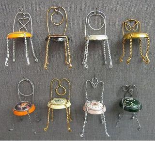 Little champagn bottle chairs #chairjunky    http://attheoffice.com...could use for making pincushions