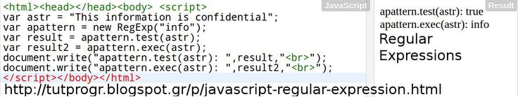 #Javascript Regular Expressions #Programming Code Picture : http://tutprogr.blogspot.gr/p/javascript-regular-expression.html